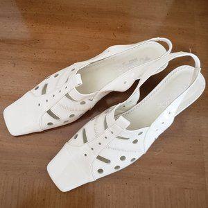 Verona White Patent Mod Style Slingback Heels